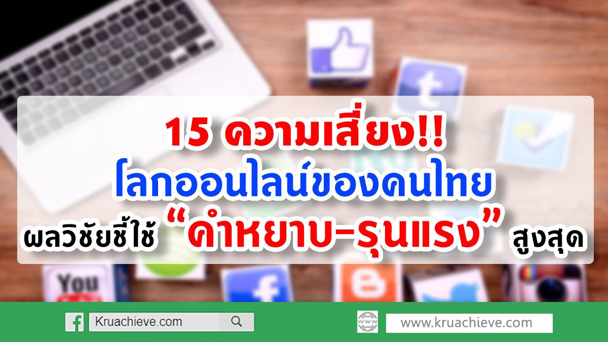 """15 ความเสี่ยงโลกออนไลน์ของคนไทย - ผลวิชัยชี้ใช้ """"คำหยาบ-รุนแรง"""" สูงสุด"""