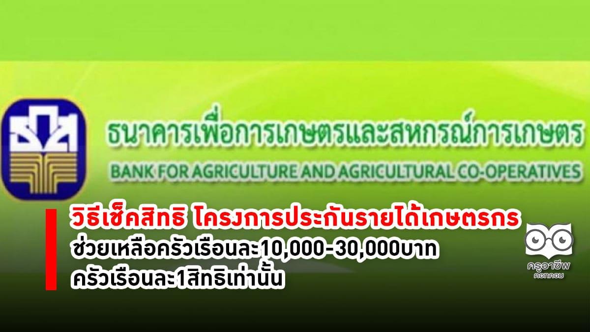 วิธีเช็คสิทธิ โครงการประกันรายได้เกษตรกร ช่วยเหลือครัวเรือนละ10,000-30,000บาท
