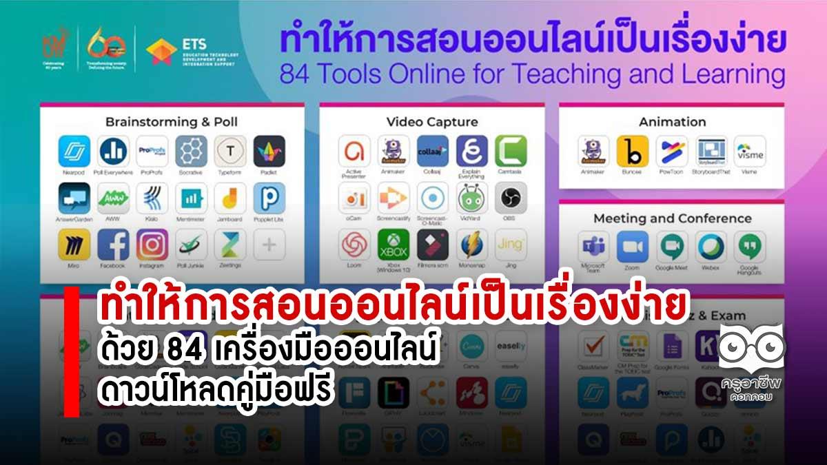 ทำให้การสอนออนไลน์เป็นเรื่องง่าย ด้วย 84 เครื่องมือออนไลน์ ดาวน์โหลดคู่มือฟรี