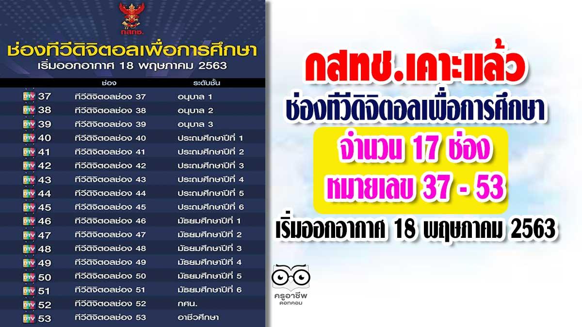 กสทช.เคาะแล้ว ช่องทีวีดิจิตอลเพื่อการศึกษา จำนวน 17 ช่อง หมายเลข 37 - 53 เริ่มออกอากาศ 18 พฤษภาคม 2563