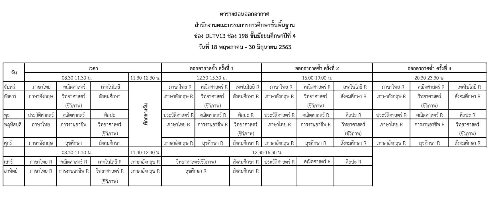 ดาวน์โหลดได้แล้ว ตารางสอนออกอากาศ DLTV ระดับชั้นมัธยมศึกษาปีที่ 4-6 ระหว่างวันที่ 18 พฤษภาคม - 30 มิถุนายน 2563