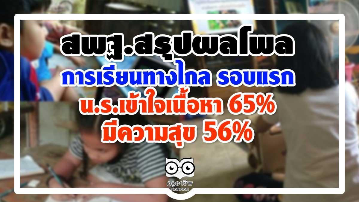 สพฐ.สรุปผลโพล การเรียนการสอนทางไกล รอบแรก น.ร.เข้าใจเนื้อหา65% มีความสุข 56%