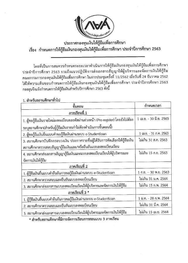 กำหนดการให้กู้ยืมเงิน กองทุนให้กู้ยืมเพื่อการศึกษา ปีการศึกษา 2563 รายใหม่ลงทะเบียนภายใน 30 มิ.ย. 63 นี้