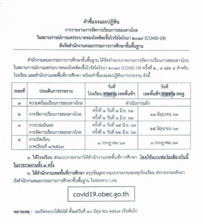 สพฐ.แจ้งโรงเรียน รายงานการจัดการเรียนการสอนทางไกล ในสถานการณ์การแพร่ระบาดของโรค COVID-19 ระยะ 3 15 -22 มิถุนายน 2563