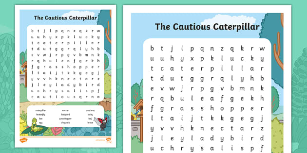 The Cautious Caterpillar Word Search