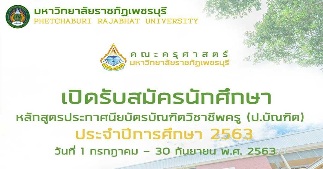 มหาวิทยาลัยราชภัฏเพชรบุรี เปิดรับสมัคร หลักสูตร ป. บัณฑิตวิชาชีพครู 1 ก.ค. - 30 ก.ย. 63