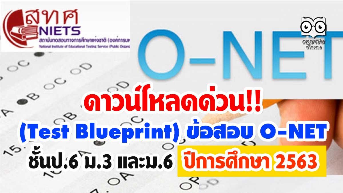 ดาวน์โหลดด่วน!! (Test Blueprint) ข้อสอบ O-NET ชั้นป.6 ม.3 และม.6 ปีการศึกษา 2563