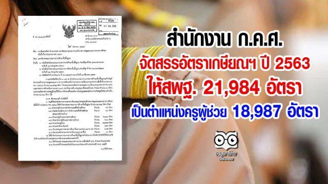 ก.ค.ศ.จัดสรรอัตราเกษียณฯ ปี 2563 ให้สพฐ. 21,984 อัตรา เป็นตำแหน่งครูผู้ช่วย 18,987 อัตรา