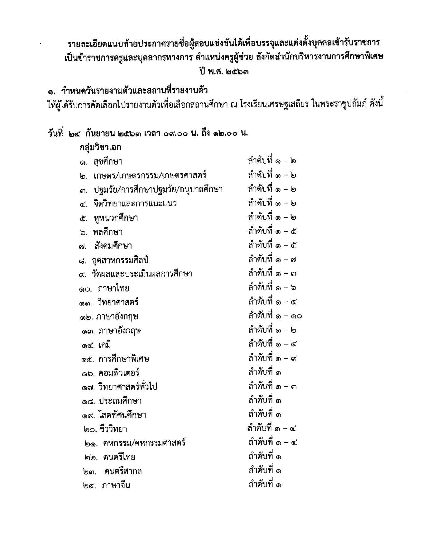 สศศ. ประกาศแล้ว รายชื่อขึ้นบัญชีครูผู้ช่วย รอบทั่วไป 1/2563 รายงานตัว 24 กันยายน 2563