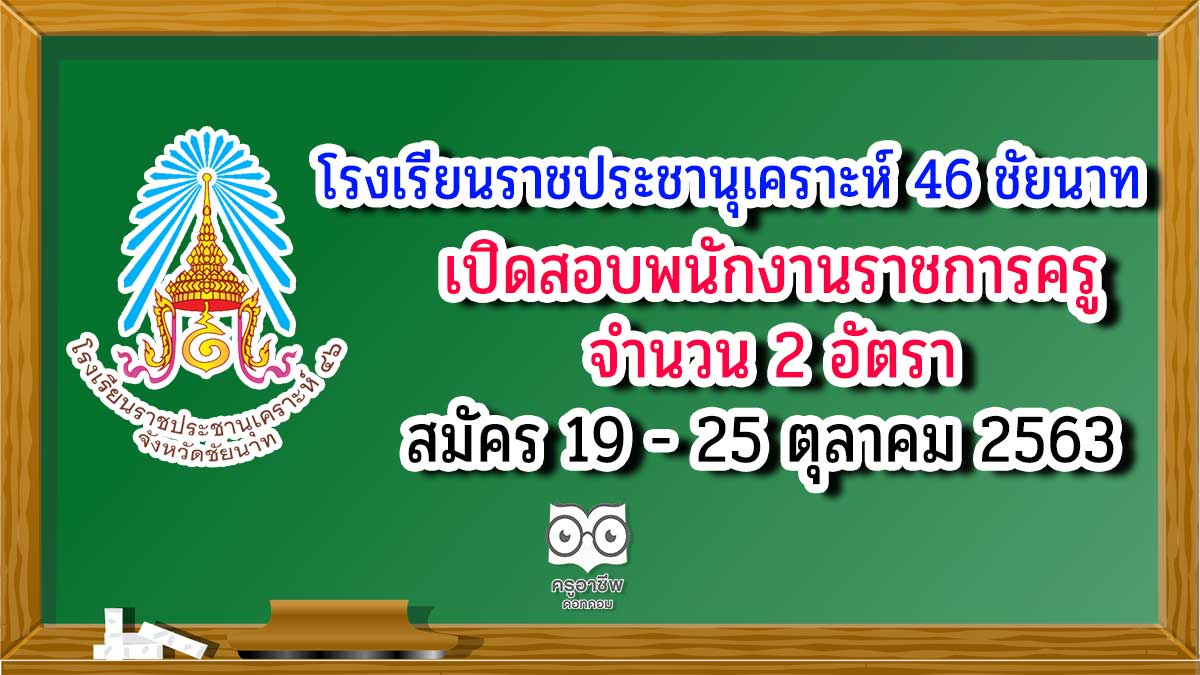 โรงเรียนราชประชานุเคราะห์ 46 จังหวัดชัยนาท เปิดสอบพนักงานราชการครู 2 อัตรา สมัคร 19 - 25 ตุลาคม 2563