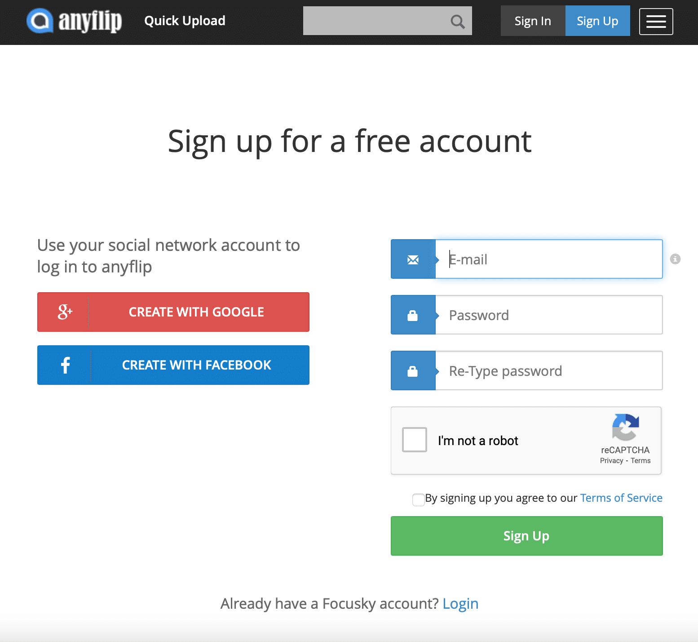 เข้าเว็บไซต์ www.anyflip.com