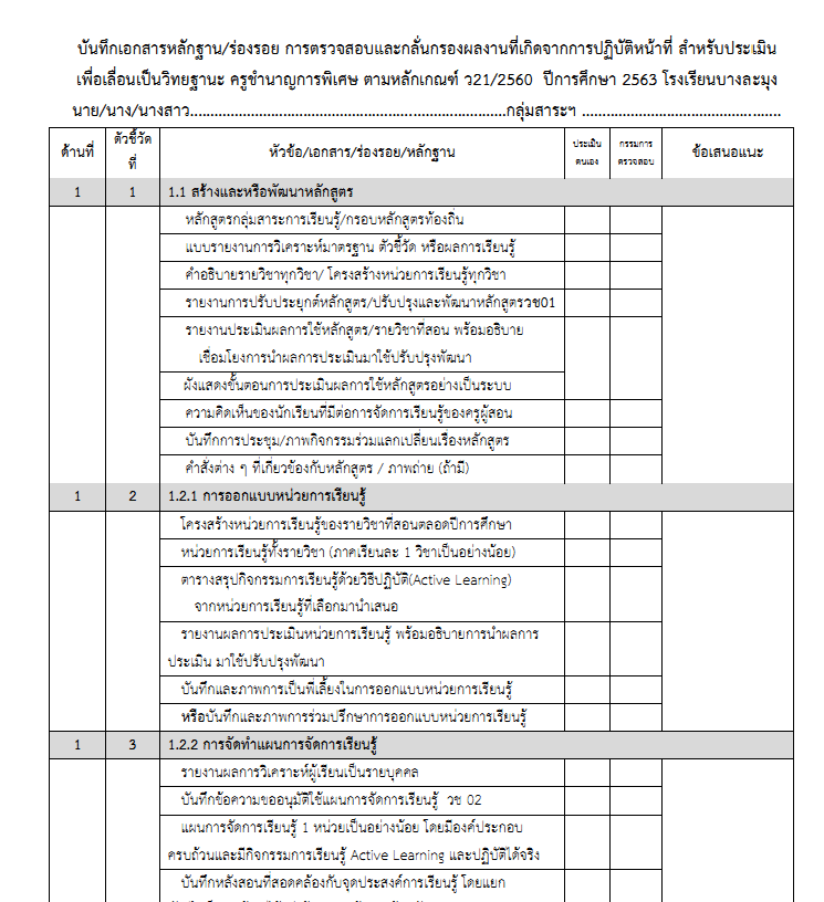 ดาวน์โหลด!! แบบบันทึกการกลั่นกรองตรวจสอบรอบที่ 1 ของปีการศึกษา2563 ตามหลักเกณฑ์ ว21/2560