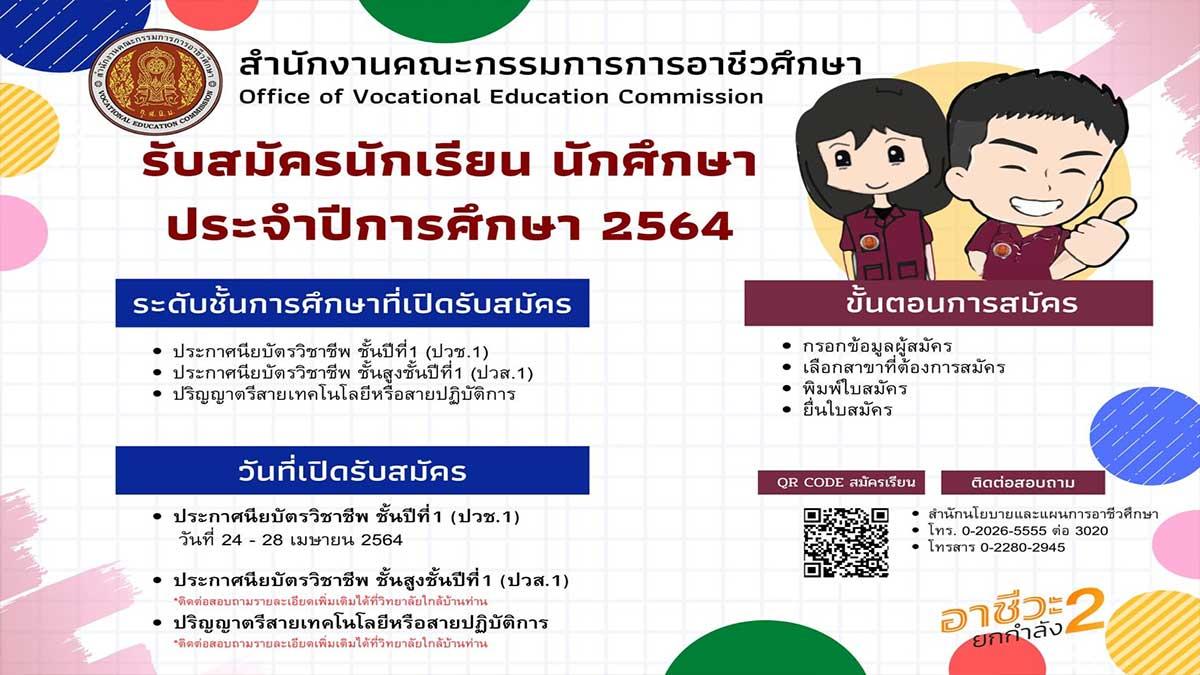 กำหนดการรับสมัครนักเรียน นักศึกษา สอศ. ปีการศึกษา 2564 ปวช.1 รับสมัคร 24 มีนาคม - 28 เมษายน 2564