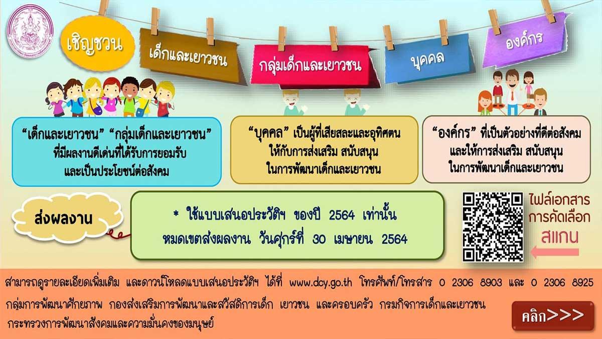 การสรรหาและพิจารณาคัดเลือกเด็กเเละเยาวชนดีเด่นแห่งชาติเเละผู้ทำคุณประโยชน์ต่อเด็กเเละเยาวชน ประจำปี 2564 ส่งผลงานภายใน 30 เมษายน 2564
