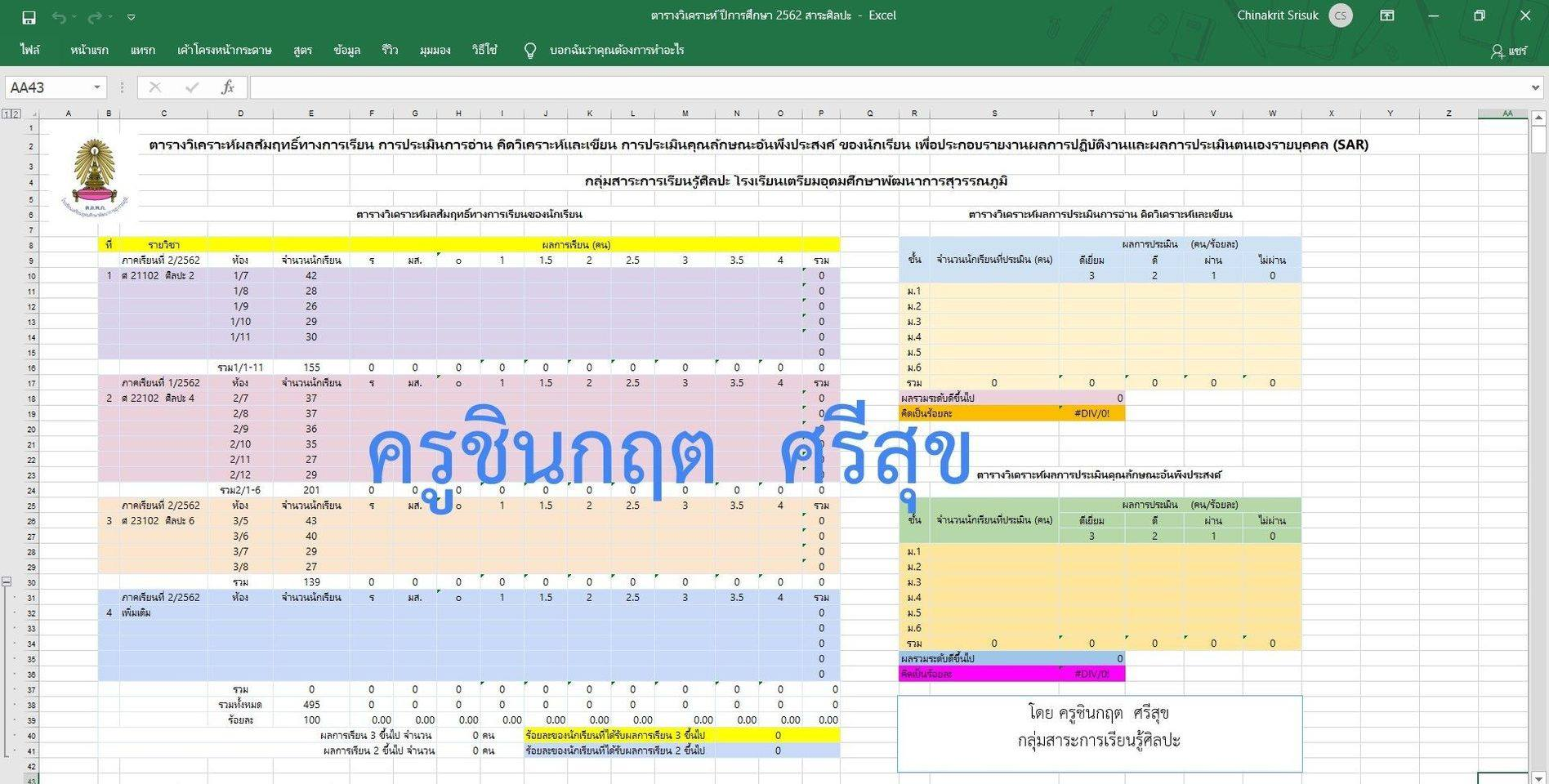 แจกฟรี!! ตารางวิเคราะห์ผลสัมฤทธิ์ทางการเรียนของนักเรียน ประกอบรายงาน SAR โดย Kru.Chinakrit
