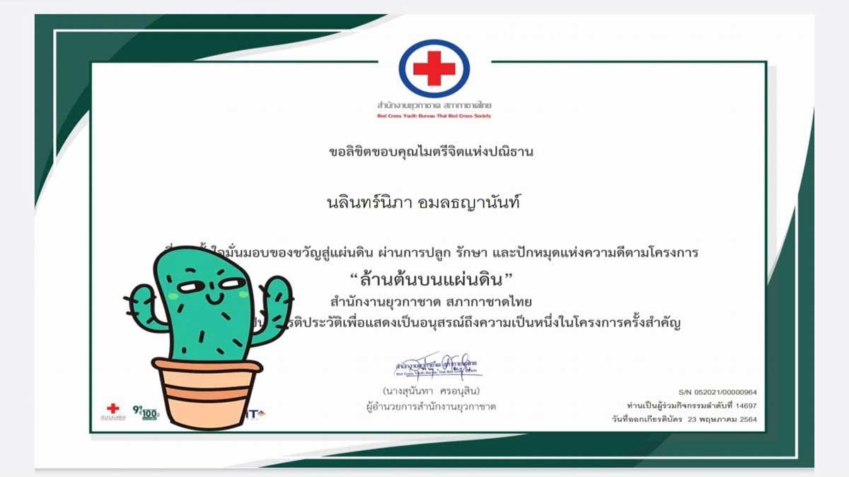 """กิจกรรม ล้านต้นบนแผ่นดิน ผ่านแนวคิด """"ปลูก ปัก รักษา""""เพิ่มพื้นที่สีเขียวให้กับประเทศของเรา รับเกียรติบัตรฟรี กับสำนักงานยุวกาชาด สภากาชาดไทย"""