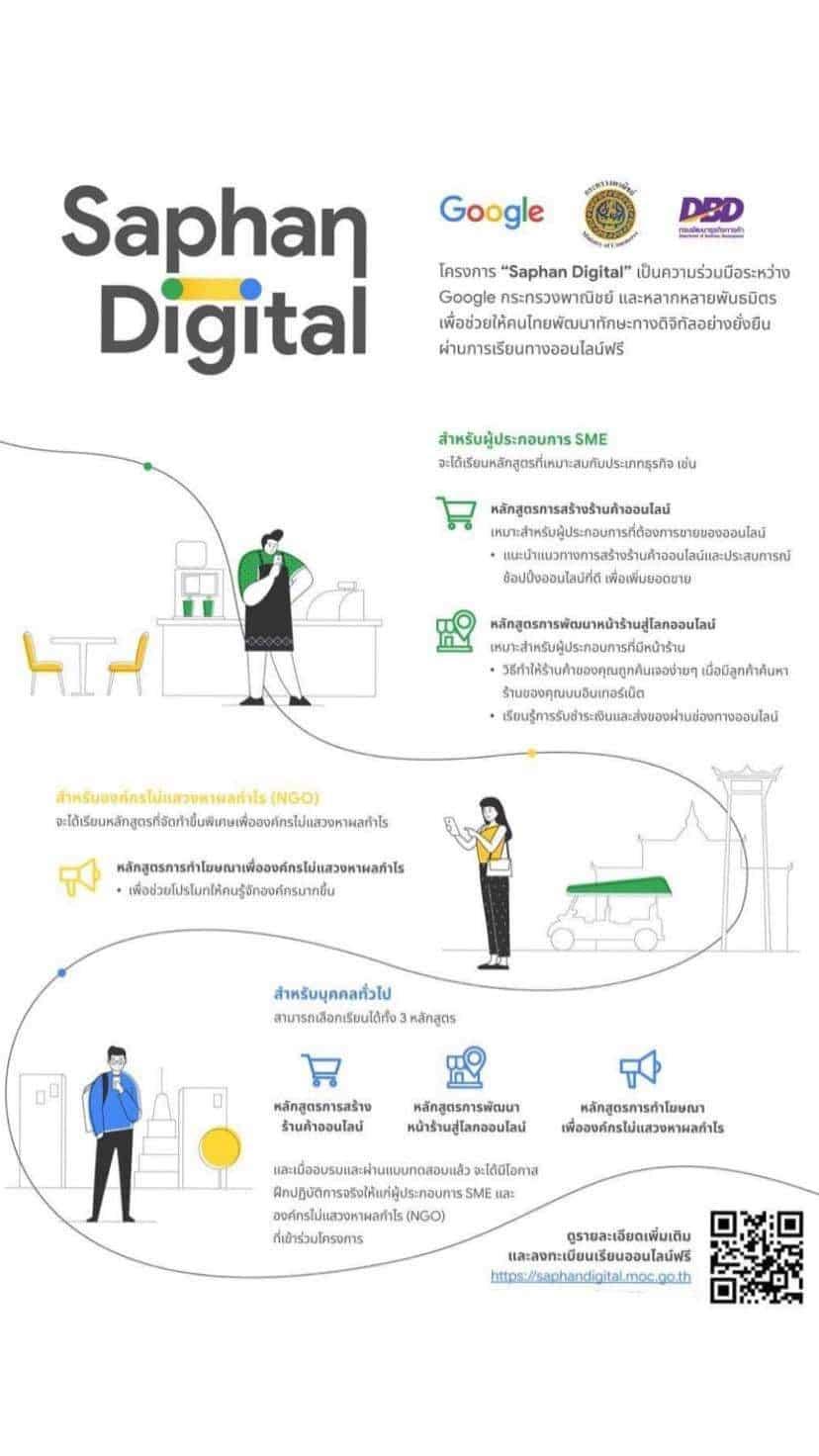 """เรียนออนไลน์ฟรี โดย Google ร่วมกับ กระทรวงพานิชย์ """"โครงการ Saphan Digital รอบ 2"""" เรียนจบรับใบประกาศนียบัตร ฟรี!!!"""