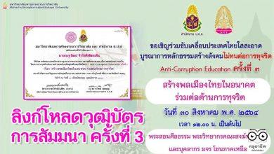 ลิงก์โหลดวุฒิบัตร การสัมมนา ครั้งที่ 3 หัวข้อ สร้างพลเมืองไทยในอนาคต ร่วมต่อต้านการทุจริต วันที่ 30 สิงหาคม 2564 โดย มจร. ร่วมกับสำนักงาน ป.ป.ช.