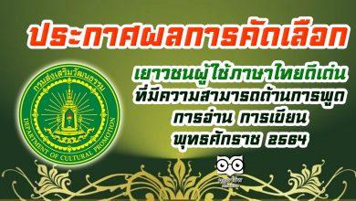 ประกาศผลการคัดเลือก เยาวชนผู้ใช้ภาษาไทยดีเด่น ที่มีความสามารถด้านการพูด การอ่าน การเขียน พุทธศักราช ๒๕๖๔