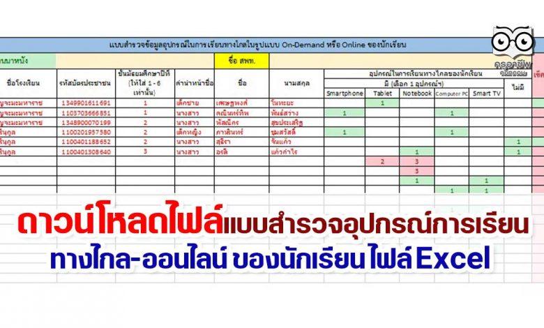 ดาวน์โหลด แบบสํารวจอุปกรณ์การเรียนทางไกลหรือรูปแบบออนไลน์ของนักเรียน ไฟล์ Excel รายงานภายใน 30 กันยายน 2564