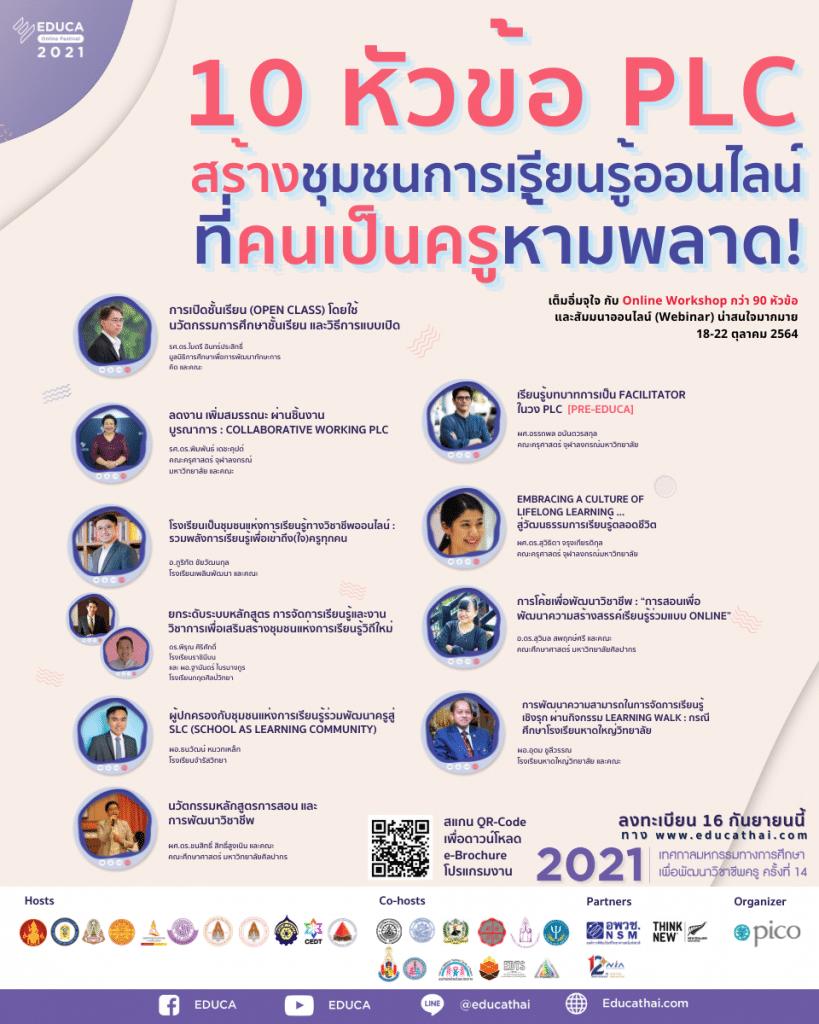10 หัวข้อ PLC สร้างชุมชนแห่งการเรียนรู้ออนไลน์ ที่ครูห้ามพลาด เริ่มเปิดลงทะเบียน 16 กันยายน 2564