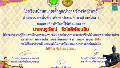 แบบทดสอบออนไลน์ เรื่อง การสอนภาษาไทย การพัฒนาการอ่านออกเขียนได้ และการส่งเสริมการอ่าน ผ่านเกณฑ์ 60% รับเกียรติบัตรทางอีเมล โดยโรงเรียนบ้านตะกุย(ค้ำคูณบำรุง)