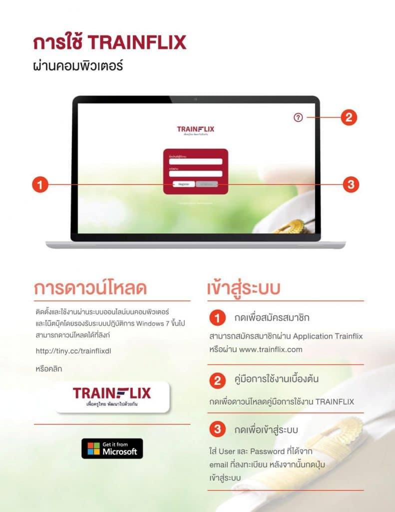 วิธีการอบรมออนไลน์ของคุรุสภา เฟสสาม อบรมฟรี 18 หลักสูตร (KSP Webinar 2021)  ผ่านแอปพลิเคชัน Trainflix บนคอมพิวเตอร์
